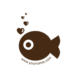 Custom Rubber Stamp - Personal - Fish in Love - C11