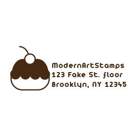 Custom Rubber Stamp - Address Stamp - Cupcake, Baking - C132