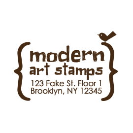 Custom Rubber Stamp - Address Stamp - Brackets with Bird - C154