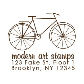 Custom Rubber Stamp - Address Stamp - Bike - C171