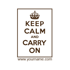 Custom Rubber Stamp - Vintage Keep Calm and Carry On - C19
