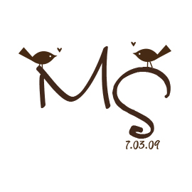 Custom Rubber Stamp - Monogram Stamp - Birds - C196