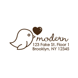 Custom Rubber Stamp - Address Stamp - Bird with Heart - C224