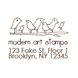 Custom Rubber Stamp - Address Stamp - Birds on Branch - C235