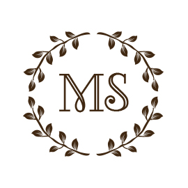 Custom Rubber Stamp - Monogram Stamp - Wreath - C240