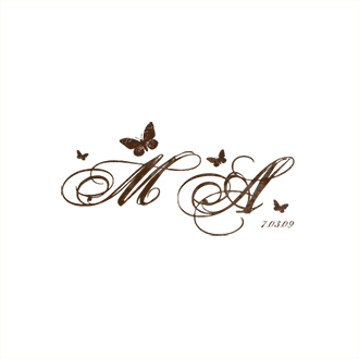 Custom Rubber Stamp - Monogram Stamp - Butterflies - C306