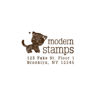 Custom Rubber Stamp - Address Stamp - Kitty, Cat - C365