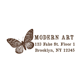 Custom Rubber Stamp - Address Stamp - Butterfly - C52