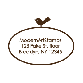 Custom Rubber Stamp - Address Stamp - Oval with Bird - C54