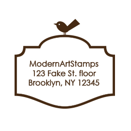 Custom Rubber Stamp - Address Stamp - Frame with Bird - C55