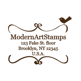 Custom Rubber Stamp - Address Stamp - Bookplate with Bird - C59