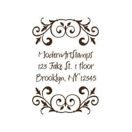 Custom Rubber Stamp - Address Stamp - Bookplate with Vines - C97
