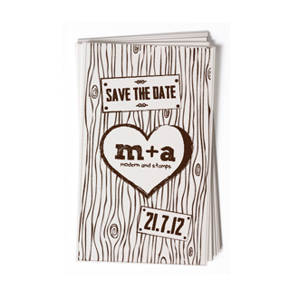Custom Rubber Stamp - Wedding Stamp - Woodgrain, Heart - BC58
