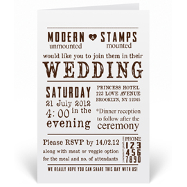 Custom Wedding Invitation Stamp - Vintage Poster, Newspaper - W1