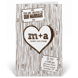 Custom Wedding Invitation Stamp - Woodgrain, Heart - W3
