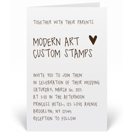 Custom Wedding Invitation Stamp - Modern Text - W6