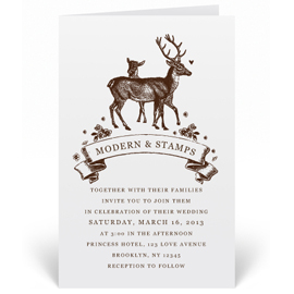 Custom Wedding Invitation Stamp - Deers - W7