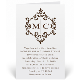 Custom Wedding Invitation Stamp - Elegant Monogram - W8