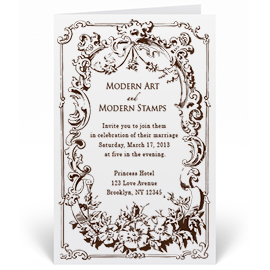 Custom Wedding Invitation Stamp - Vintage Frame - W9