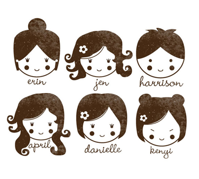 Custom Rubber Stamp - Personal Design Girl or Boy Doll Face